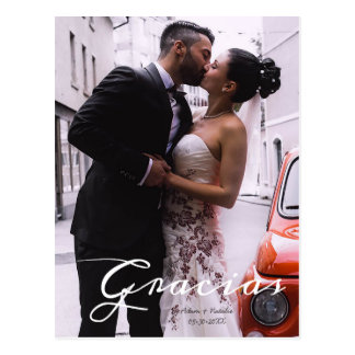 Gracias, Modern, Script • Photo, Names & date Postcard