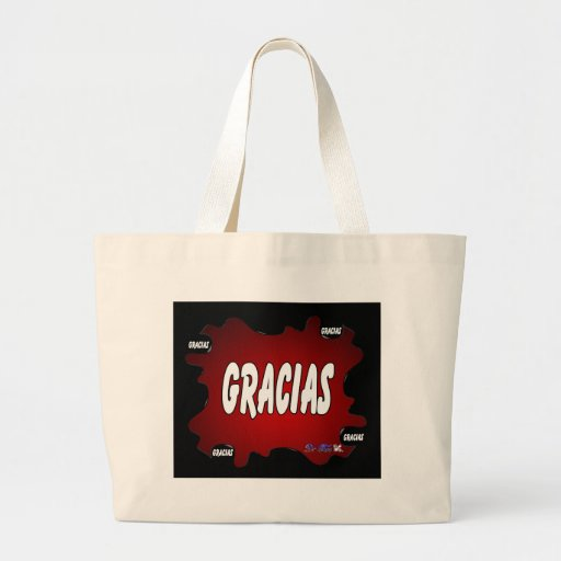 GRACIAS RED BACKGROUND PRODUCTS CANVAS BAGS