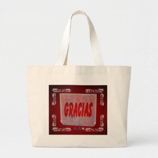 GRACIAS RED CUSTOMIZABLE PRODUCTS LARGE TOTE BAG