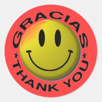Gracias Smiley Thank You Round Sticker