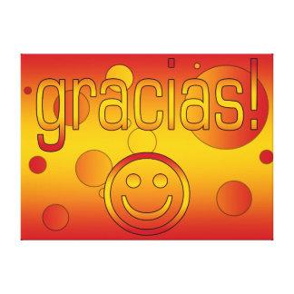 Gracias Spain Flag Colors Pop Art Gallery Wrapped Canvas