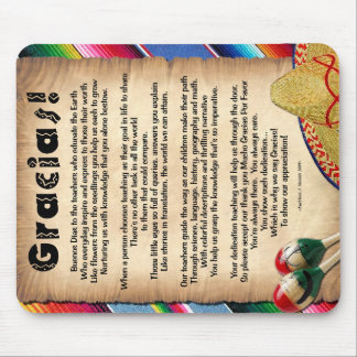 Gracias Teacher Appreciation Poem Mousepad