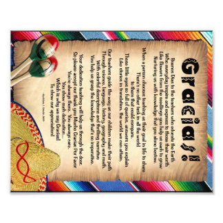 Gracias Teaher Appreciation Poem Photo Print