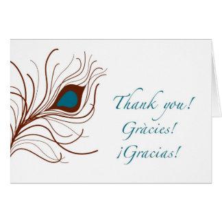 gracias thank you {peacock feather} card