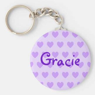 Gracie in Purple Basic Round Button Key Ring