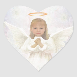 Gracious - Little Girl Angel Praying Heart Sticker
