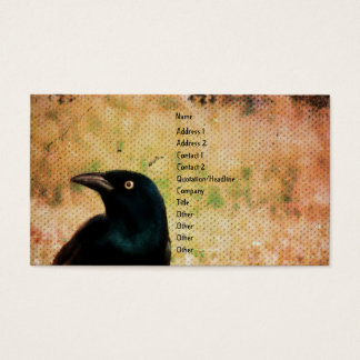 Grackle Bird Digital Art Business Card