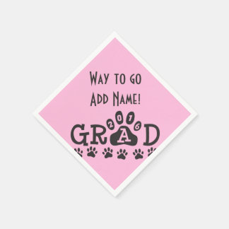 GRAD 2016 Pink Black PAWS - Cute Graduation Disposable Napkins