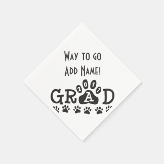 GRAD 2017 Black and White PAWS - Cute Graduation Disposable Serviettes