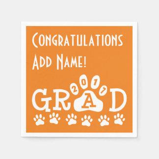 GRAD 2017 Orange and White PAWS - Cute Graduation Disposable Serviette