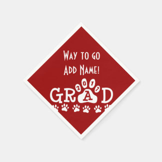 GRAD 2017 Red and White PAWS - Cute Graduation Disposable Napkins
