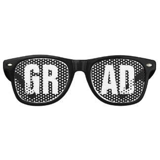 'GRAD' Black and White Graduation Party Retro Sunglasses