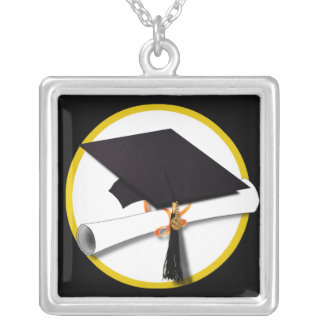 Grad Cap & Diploma - Black Background Personalized Necklace