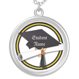 Grad Cap & Diploma - Gold and Black School Colors Necklaces