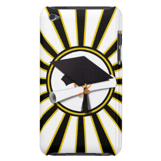 Grad Cap Diploma w School Colors Black and Gold iPod Touch Case