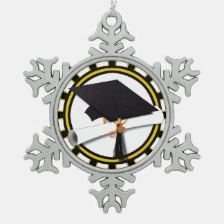 Grad Cap Diploma w School Colors Black and Gold Ornament