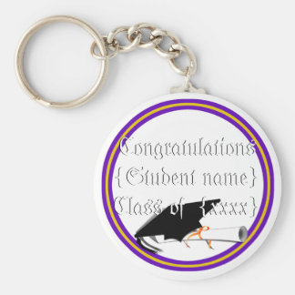 Grad Cap Tilt & Diploma  w/ Colors Purple & Gold Key Ring