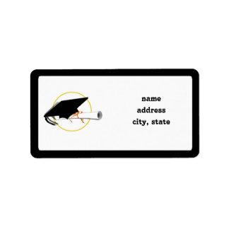 Grad Cap Tilt on Black Background Address Label