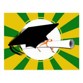 Grad Cap Tilt w/ School Colors Green and Gold Postcard