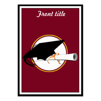 Grad Cap Tilt w School Colors Red And Gold Business Card Template
