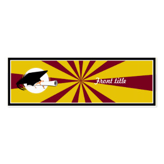 Grad Cap Tilt w School Colors Red and Gold Business Cards