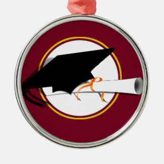 Grad Cap Tilt w/ School Colors Red And Gold Silver-Colored Round Decoration