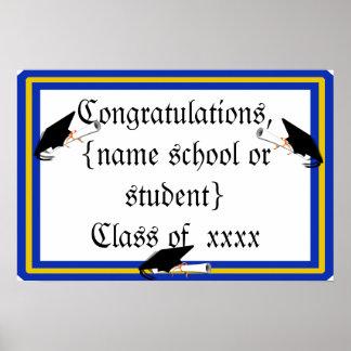 Grad Cap Tilt w/ School Colours Blue And Gold Poster