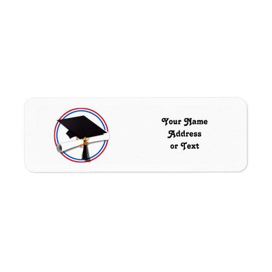 Grad Cap w/Diploma - Red & Blue School Colours Return Address Label