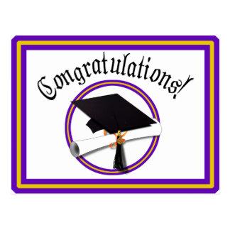 Grad Cap w/Diploma - School Colors Purple & Gold Postcard