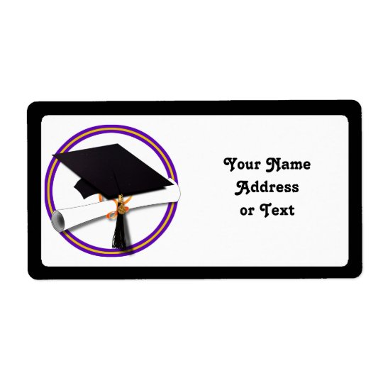 Grad Cap w/Diploma - School Colours Purple & Gold Shipping Label