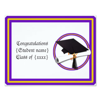 Grad Diploma School Colours Purple and Gold Card