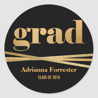 Grad Faux Gold Foil Typography Gold Ribbons Round Sticker