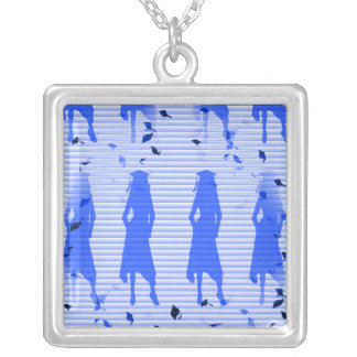Grad Girls Blue Striped Swirl Silver Plated Necklace