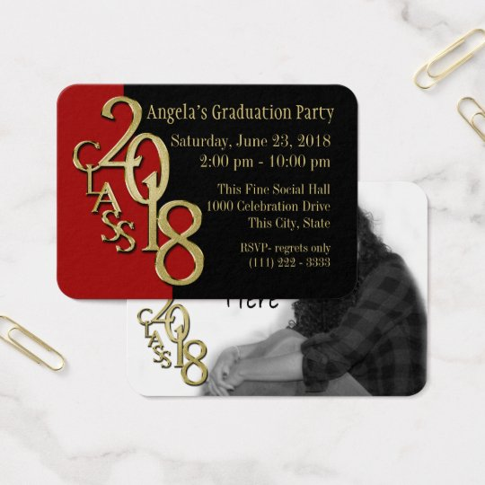 Grad Party Wallet Photo Card 2018 Red and Gold
