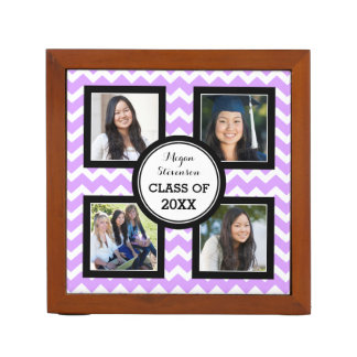 Grad Photo Lilac Chevron Desk Organizer