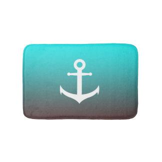 Gradient aqua red | white anchor bath mat