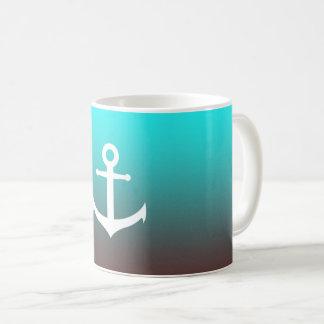 Gradient aqua red | white anchor coffee mug