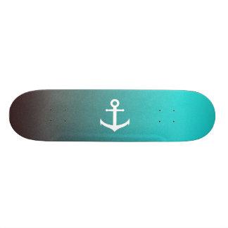 Gradient aqua red | white anchor custom skateboard
