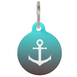 Gradient aqua red   white anchor pet ID tag