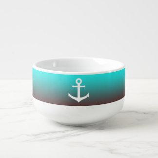 Gradient aqua red | white anchor soup mug