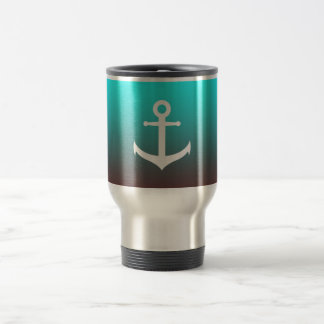 Gradient aqua red | white anchor travel mug