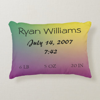 Gradient Baby Birth Purple-Green-Turquoise Pillow