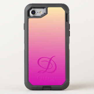 Gradient background pink yellow OtterBox defender iPhone 7 case