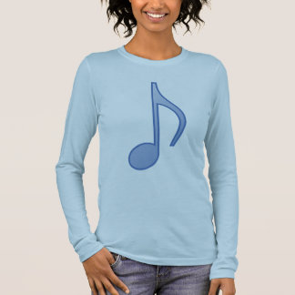 Gradient Blue Eighth Note Long Sleeve T-Shirt