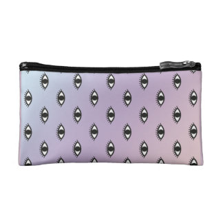 Gradient Blue Liliac Eye Print Cosmetic Bag