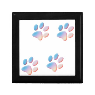 Gradient Blue Pink and Yellow Paw Prints Gift Box