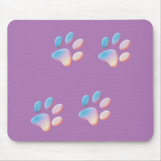 Gradient Blue Pink and Yellow Paw Prints Mouse Pad