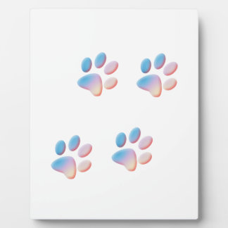 Gradient Blue Pink and Yellow Paw Prints Plaque