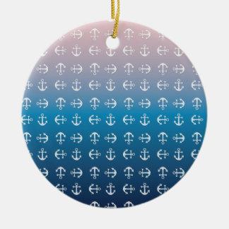Gradient blue pink   nautical anchor pattern ceramic ornament