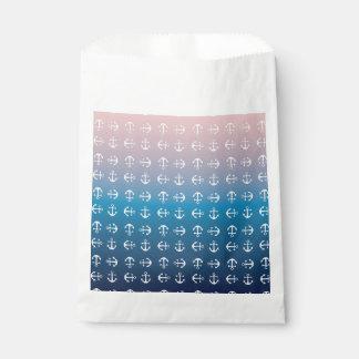 Gradient blue pink | nautical anchor pattern favour bag